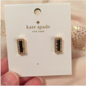 kate spade raising the bar black gold stud earring